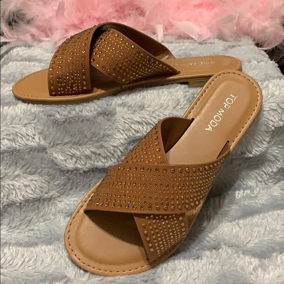65ff000cc414 Brown criss cross spring sandals w  rhinestones